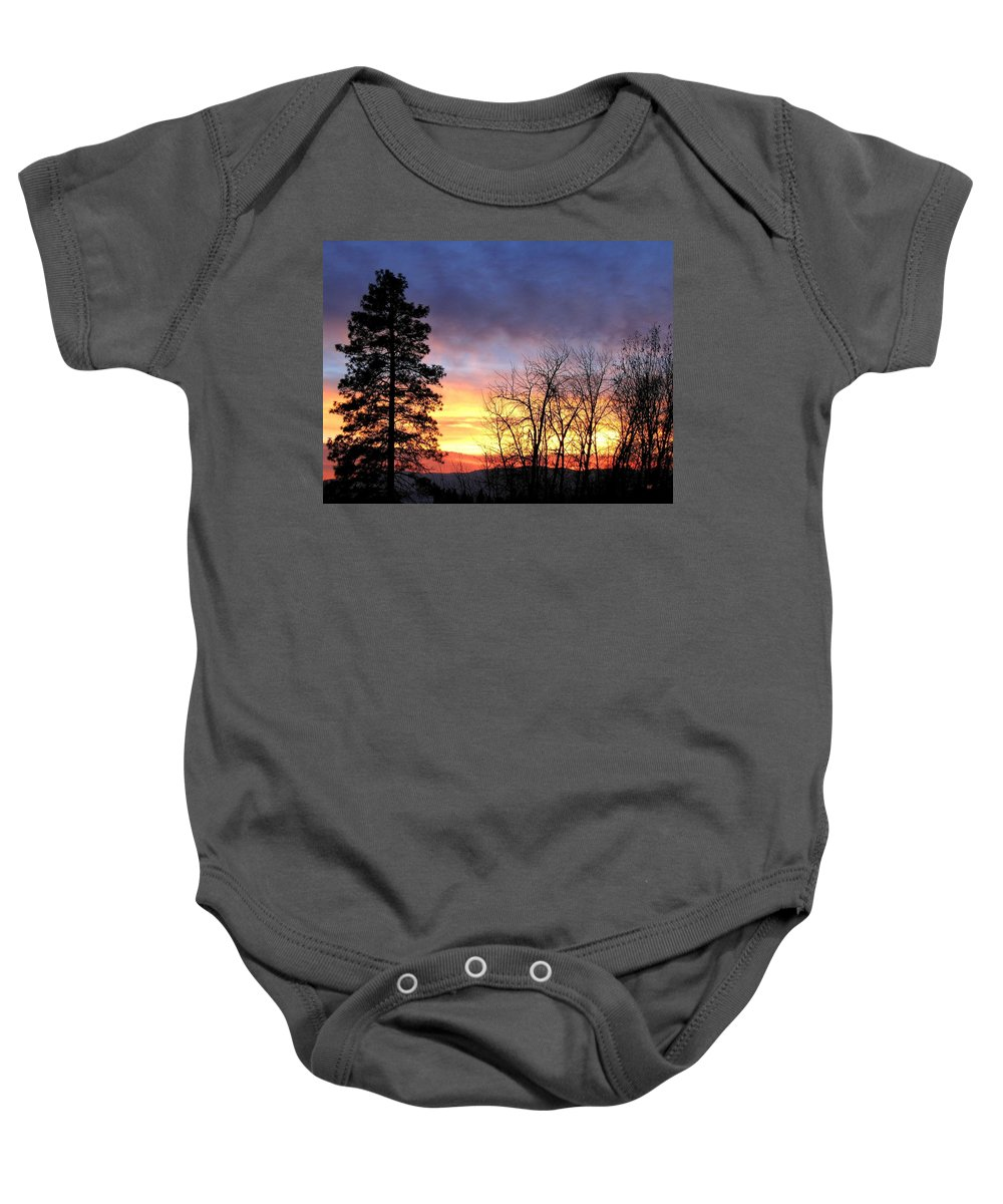 Sunset Baby Onesie featuring the photograph Scintillating Sunset by Will Borden