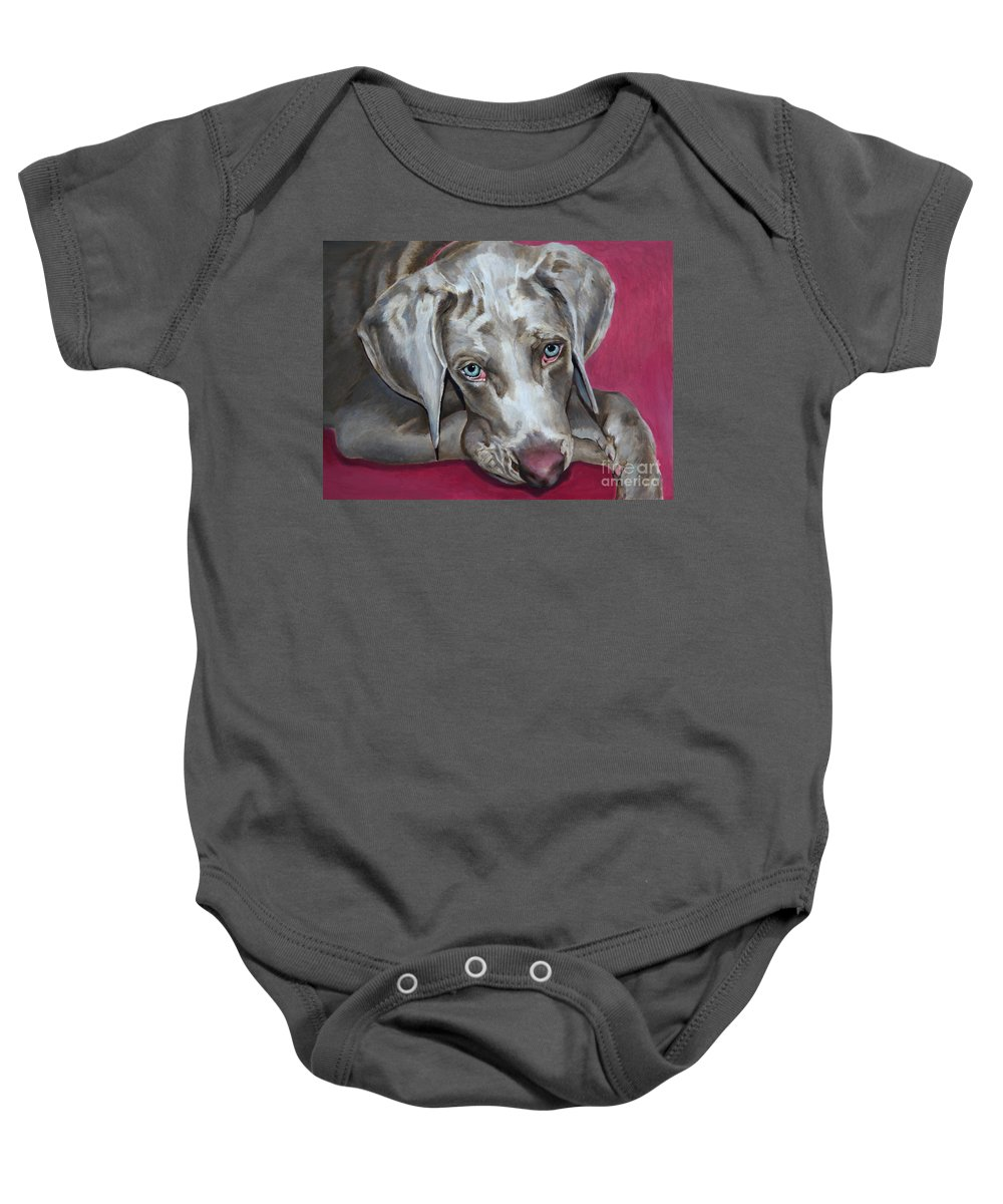Dog Painting Baby Onesie featuring the painting Scooby Weimaraner Pet Portrait by Portraits By NC