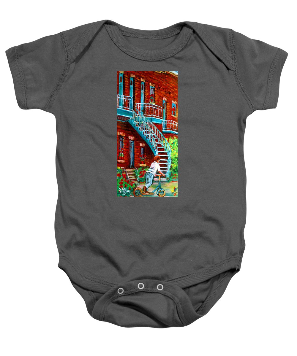 Debullion Street Baby Onesie featuring the painting Scooter Ride Along Coloniale Street by Carole Spandau