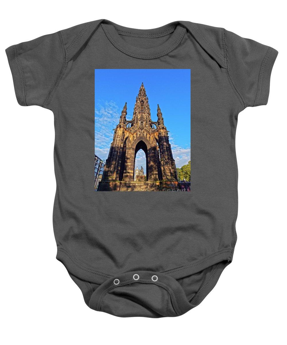Europe Baby Onesie featuring the photograph Scott Monument, Edinburgh, Scotland by Karol Kozlowski