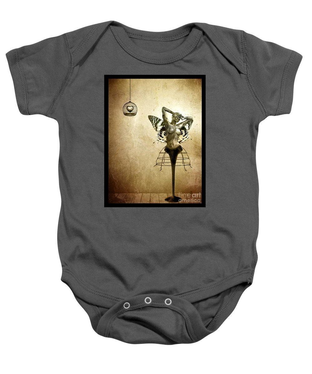 Digital Baby Onesie featuring the painting Scream Of A Butterfly by Jacky Gerritsen