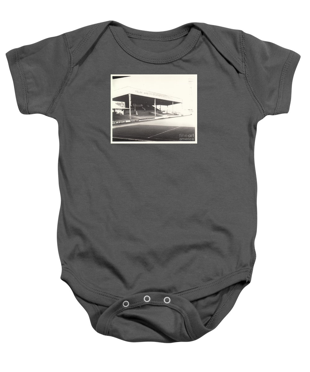 Baby Onesie featuring the photograph Scunthorpe United - Old Showground - Main Stand 1 - Bw - 1960s by Legendary Football Grounds