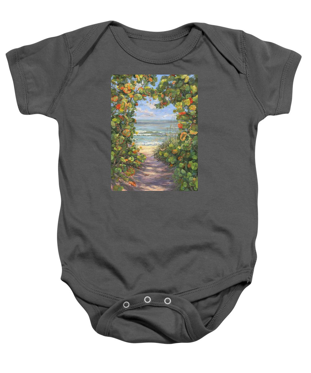 Beach Baby Onesie featuring the painting Sea Grape Heart by Carol McArdle