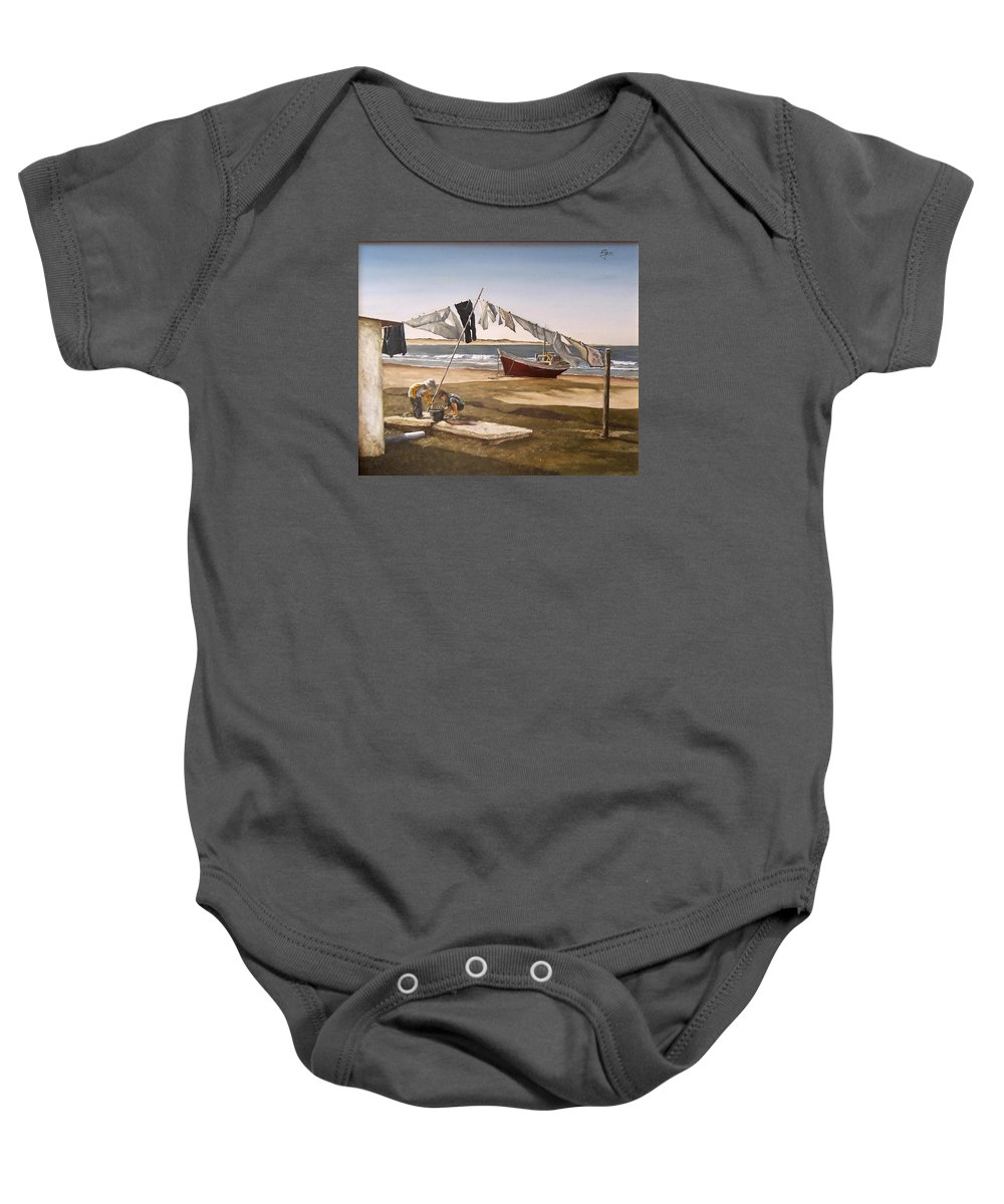 Kids Seascape Boat Painting Portrait Figurative Seascape Sea Baby Onesie featuring the painting Sea Kids by Natalia Tejera