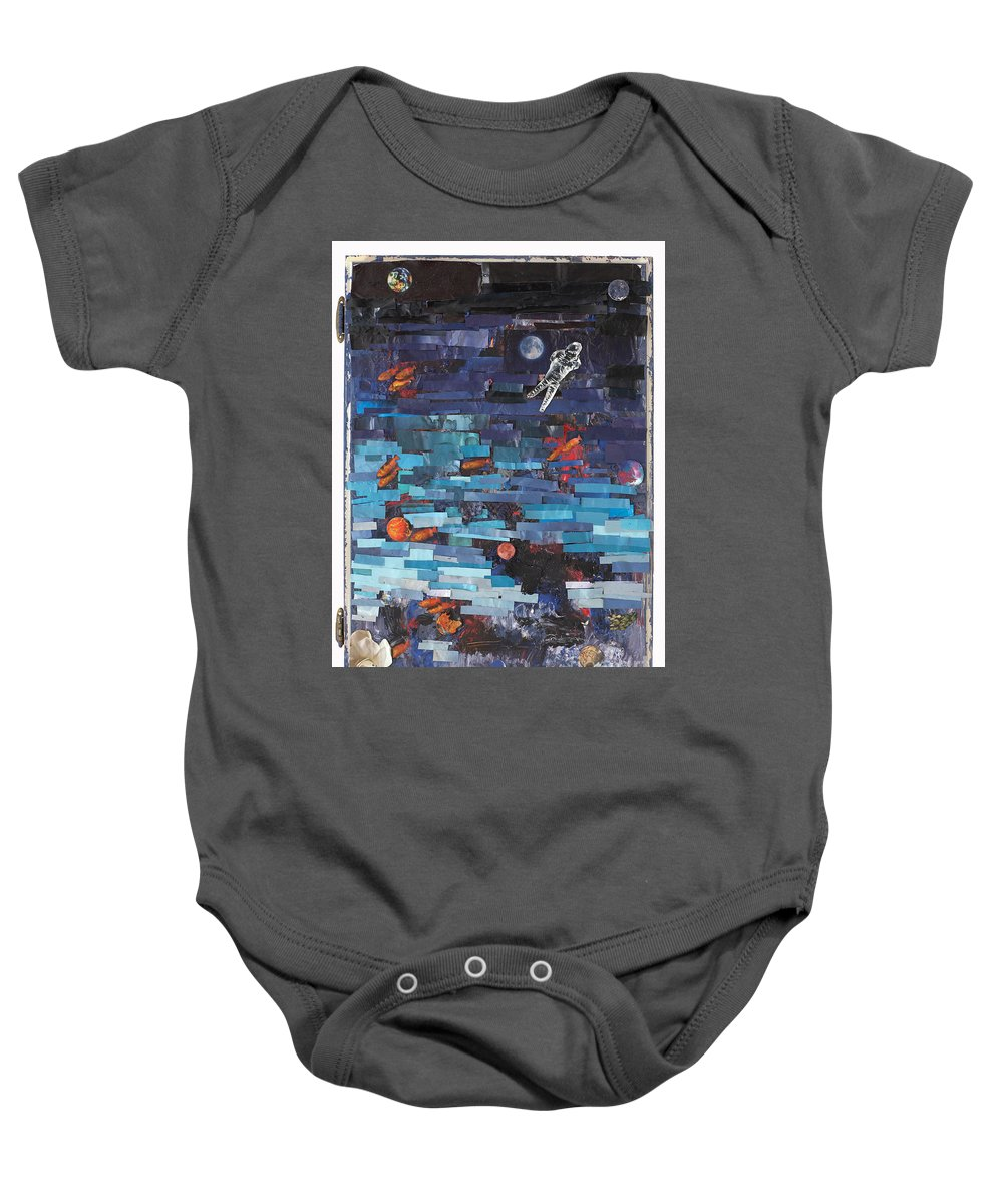 Astronaut Baby Onesie featuring the mixed media Sea Space by Jaime Becker