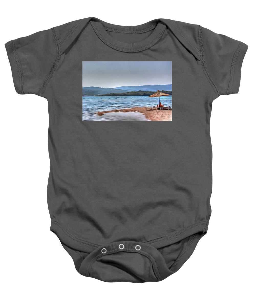 Sea Sun Beach Nature Baby Onesie featuring the pyrography Sea Sun Beach by Yury Bashkin
