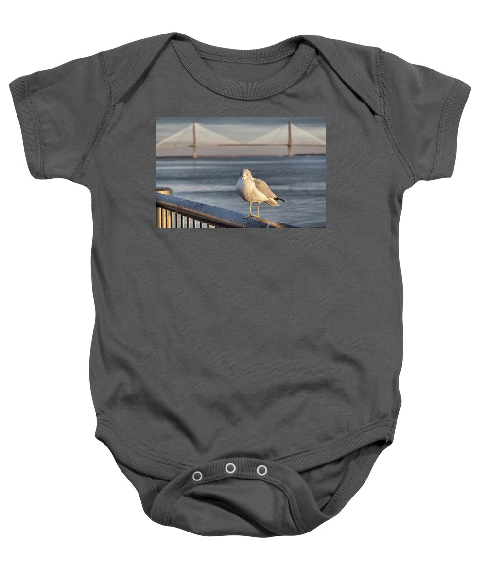 Charleston Baby Onesie featuring the photograph Seagull At Ravenel Bridge by Lynne Jenkins