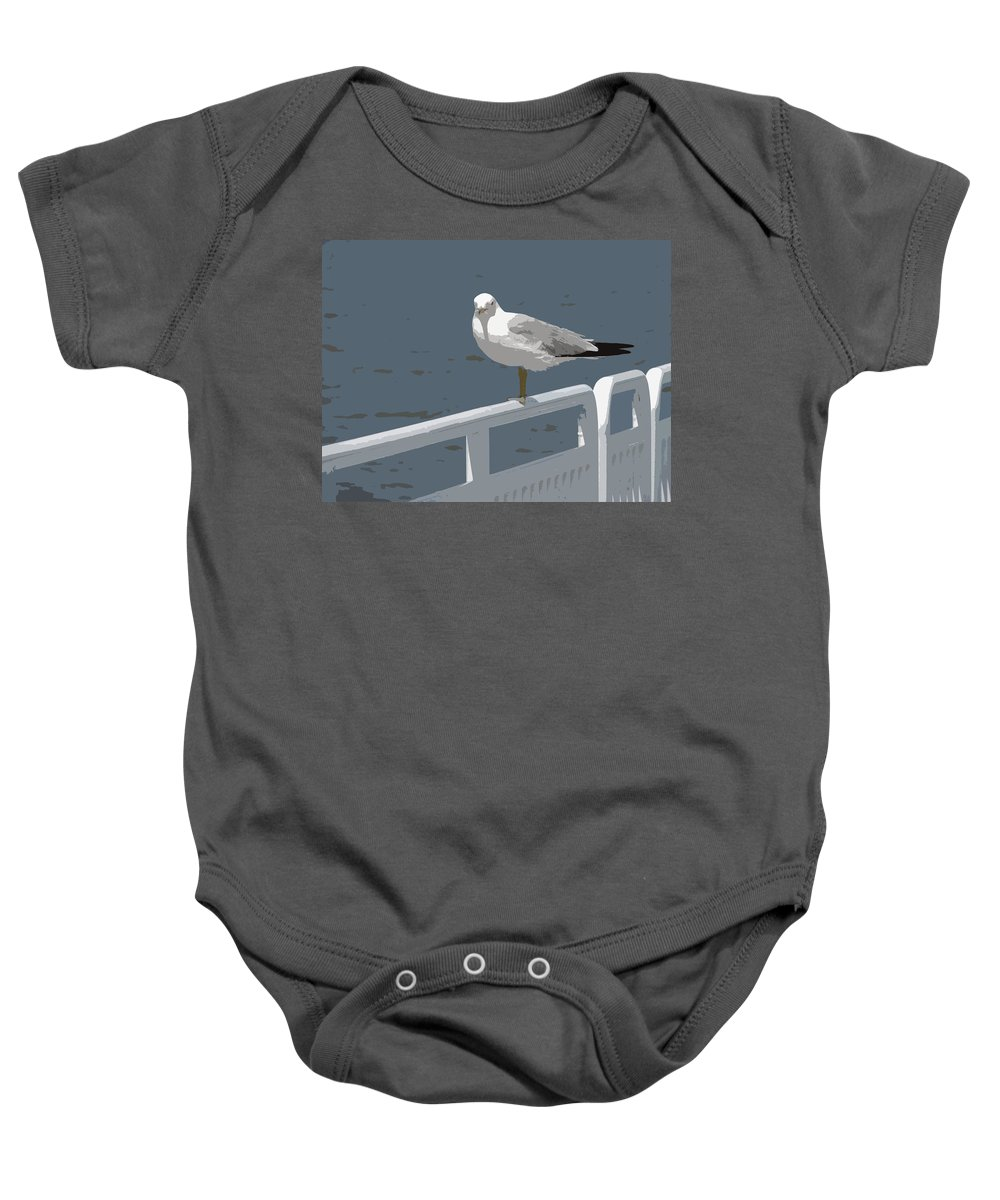 Seagull Baby Onesie featuring the photograph Seagull On The Rail by Michelle Calkins