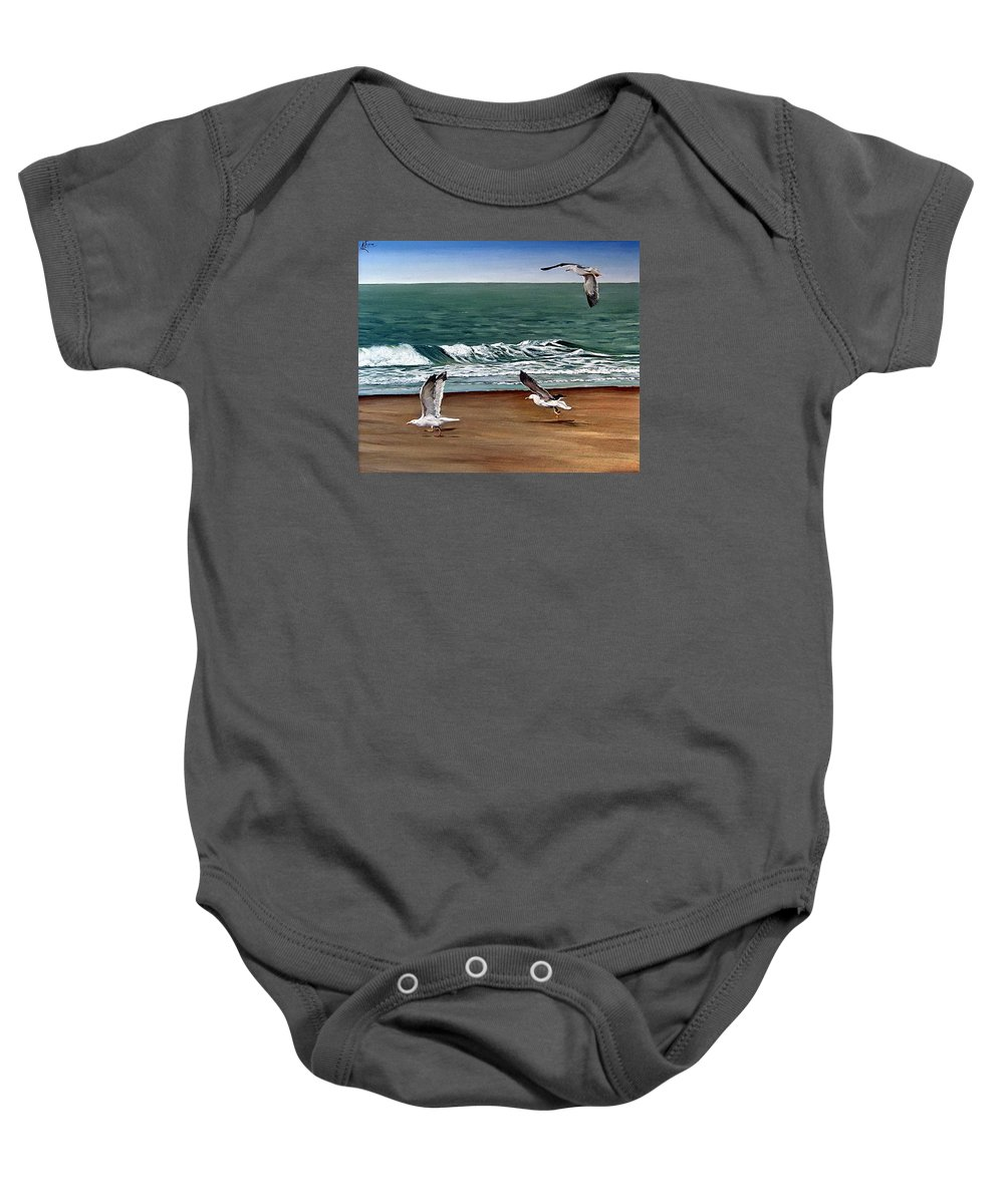 Seascape Baby Onesie featuring the painting Seagulls 2 by Natalia Tejera