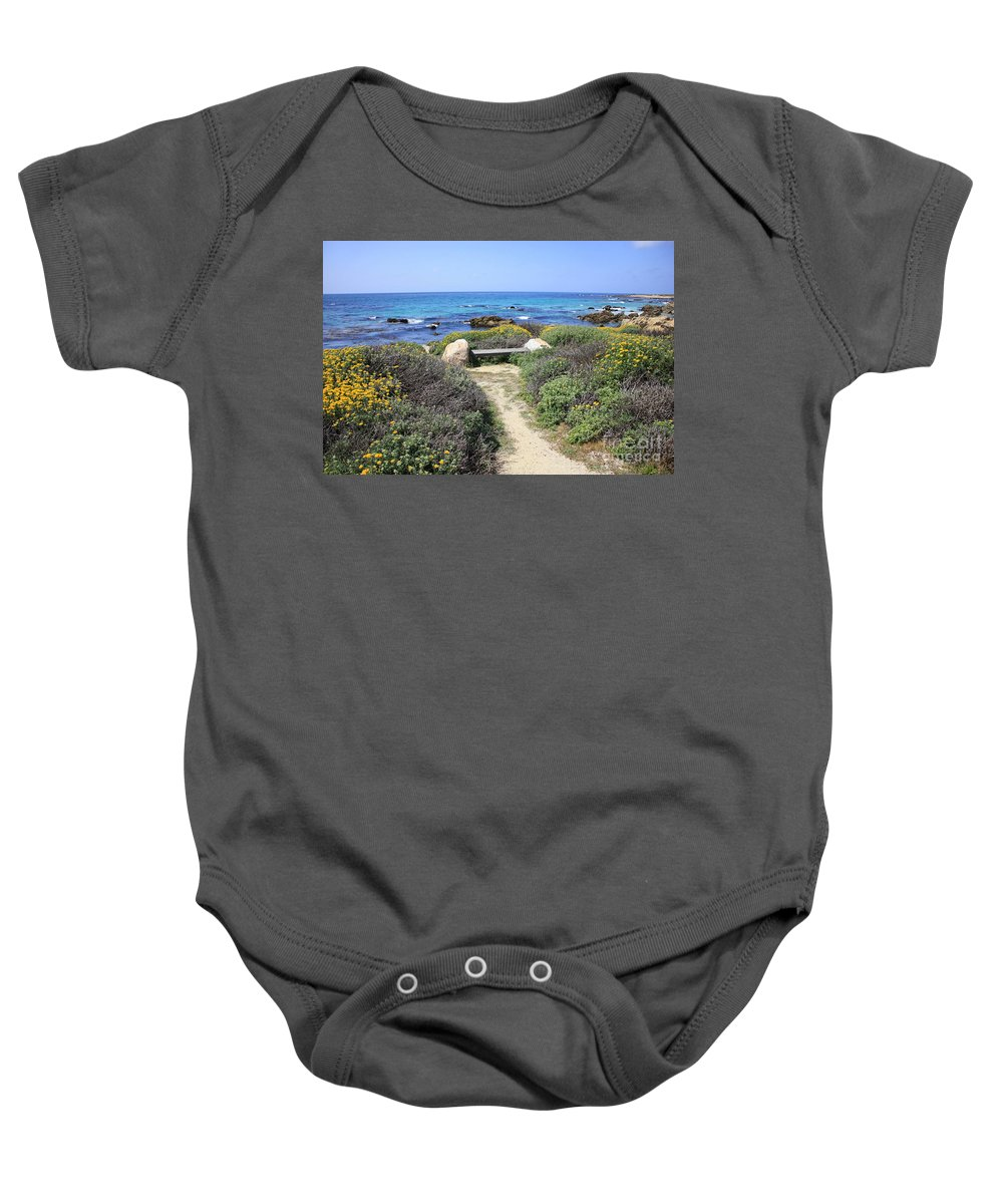 Landscape Baby Onesie featuring the photograph Seaside Bench by Carol Groenen