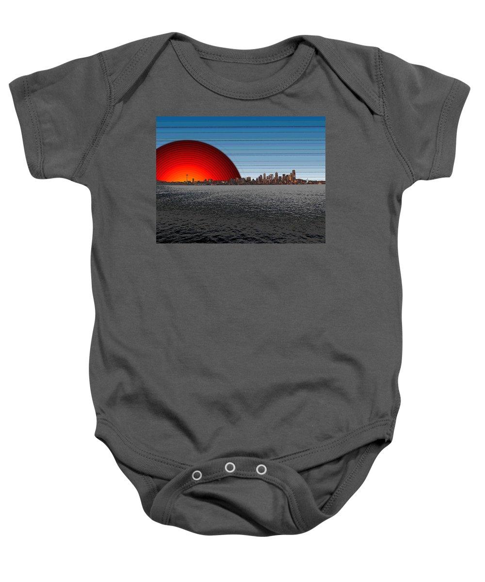 Seattle Baby Onesie featuring the digital art Seattle Dawning 2 by Tim Allen