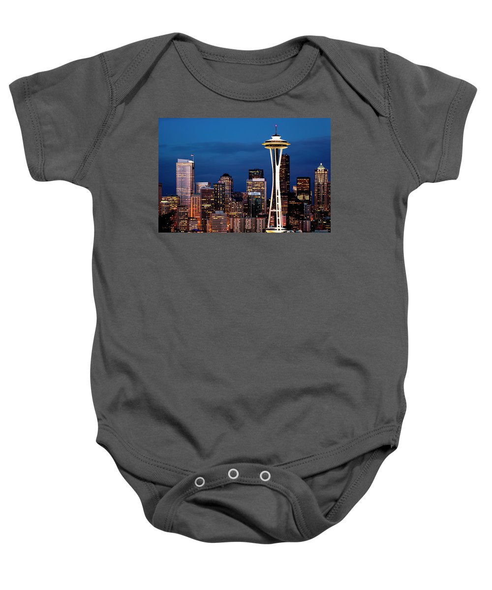 Seattle Baby Onesie featuring the photograph Seattle Skyline by Janet Fikar