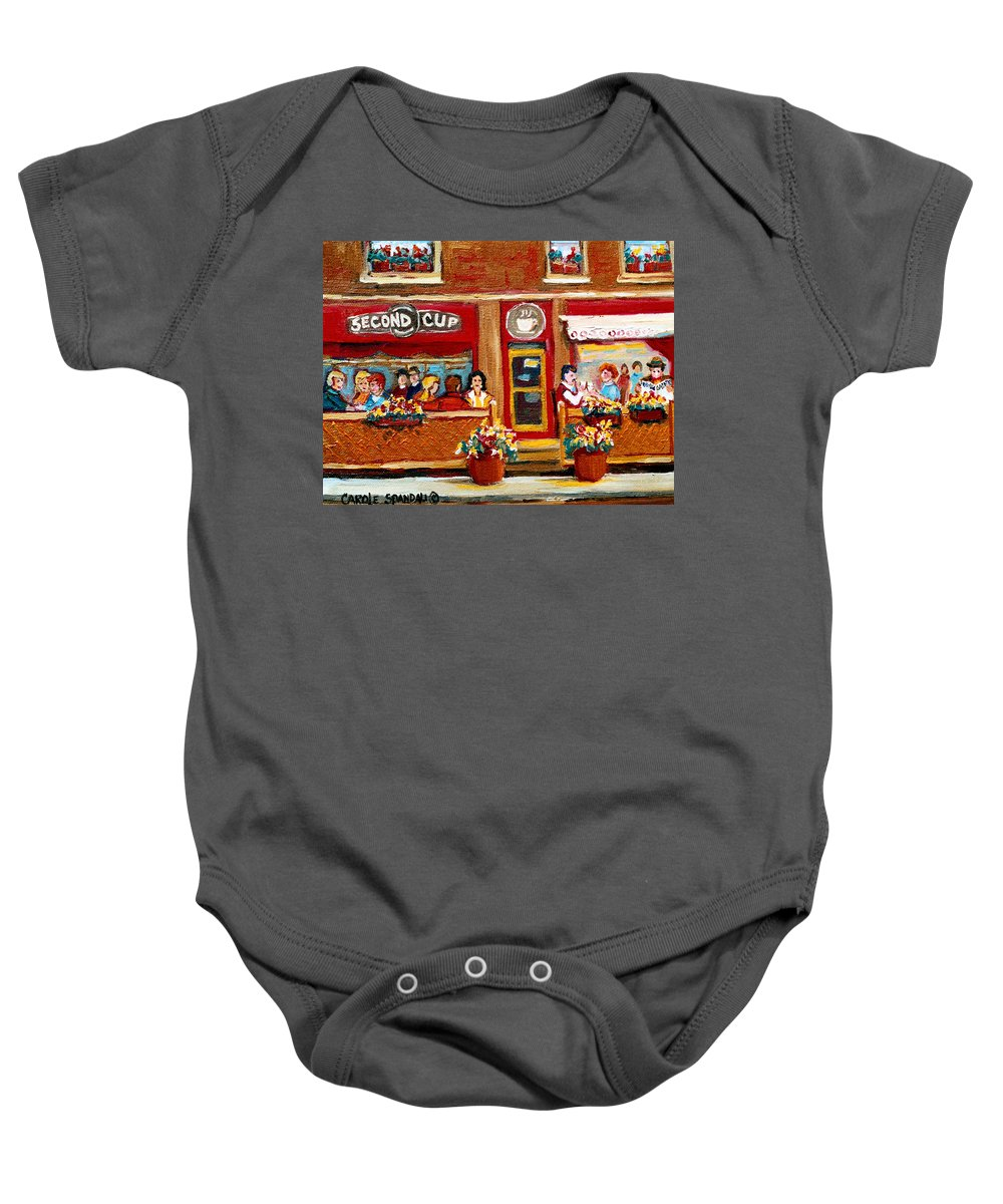 Second Cup Coffee Shop Baby Onesie featuring the painting Second Cup Coffee Shop by Carole Spandau