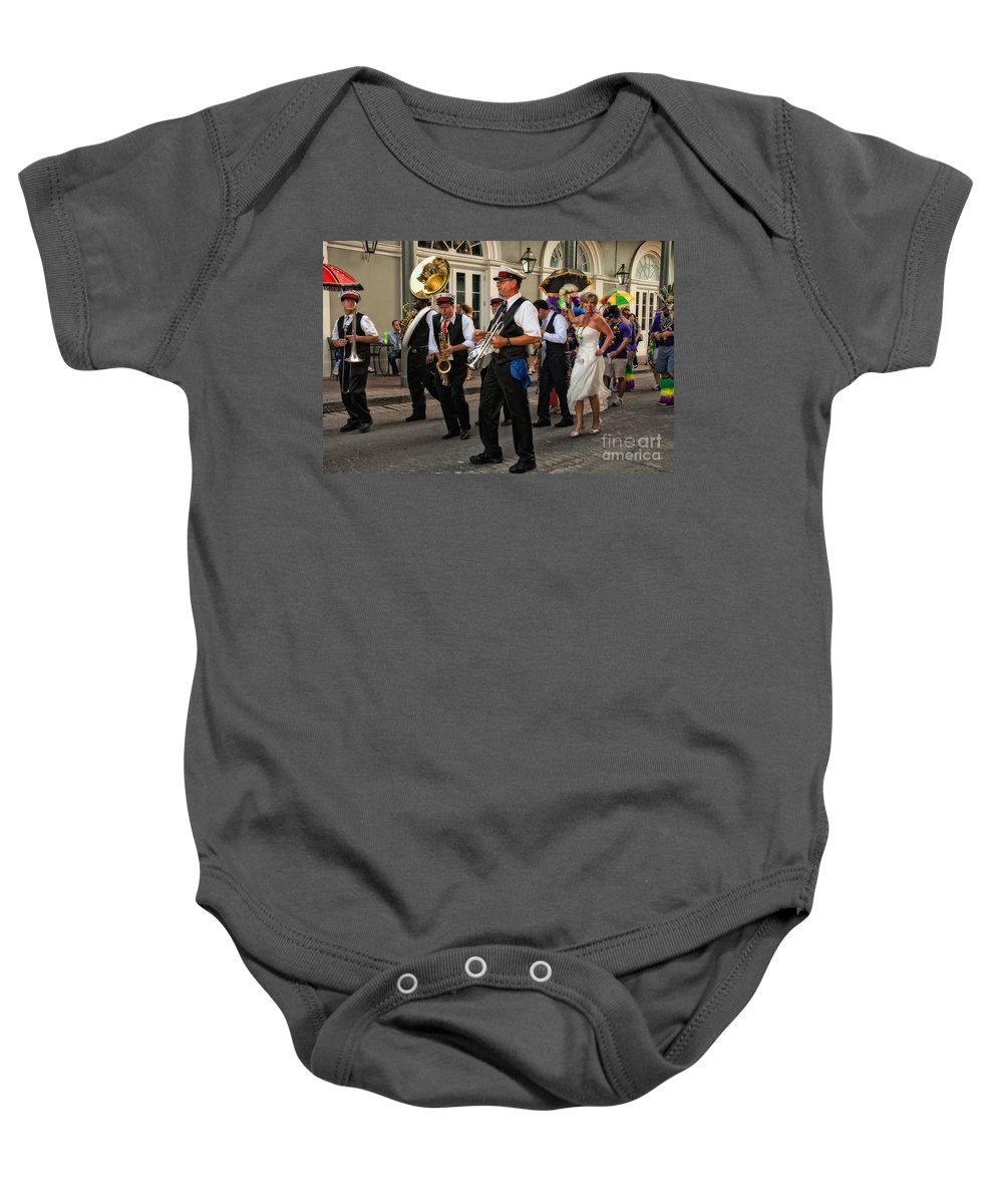 New Orleans Prints Baby Onesie featuring the photograph Second Line Wedding On Bourbon Street New Orleans by Kathleen K Parker
