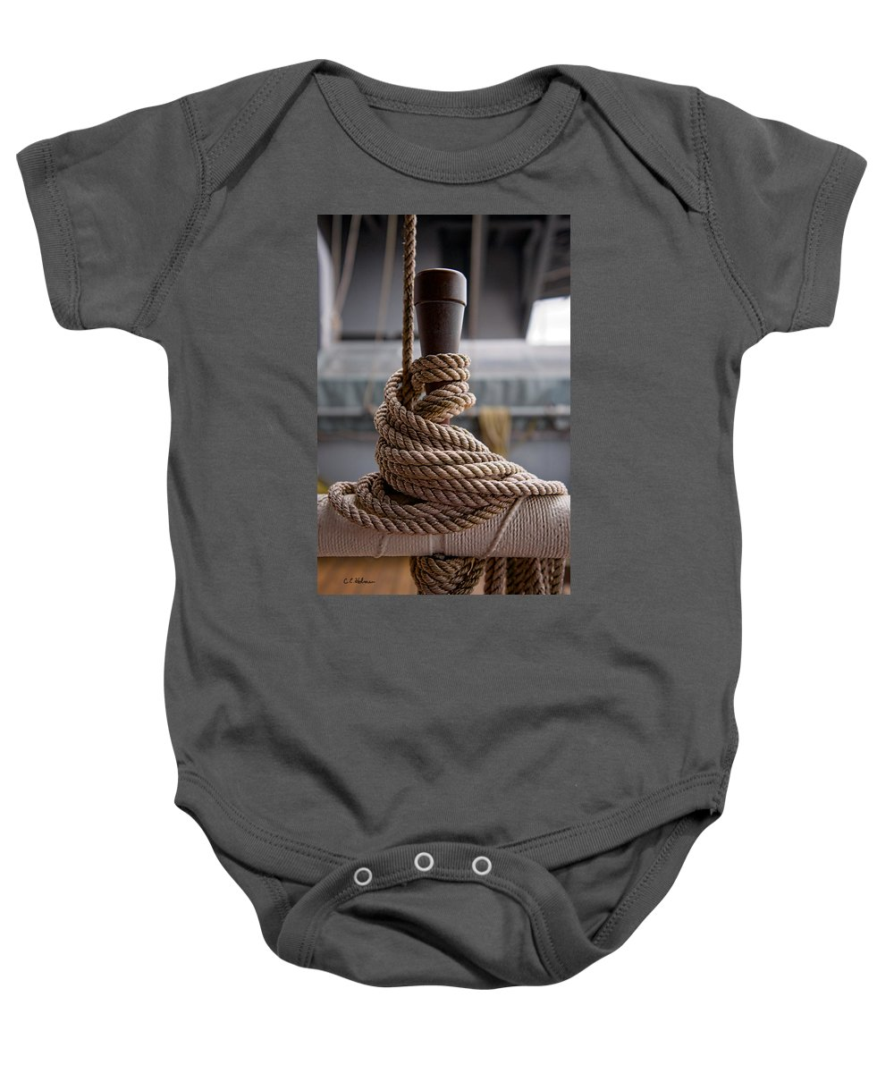 Uss Wisconsin Baby Onesie featuring the photograph Secured Coils by Christopher Holmes