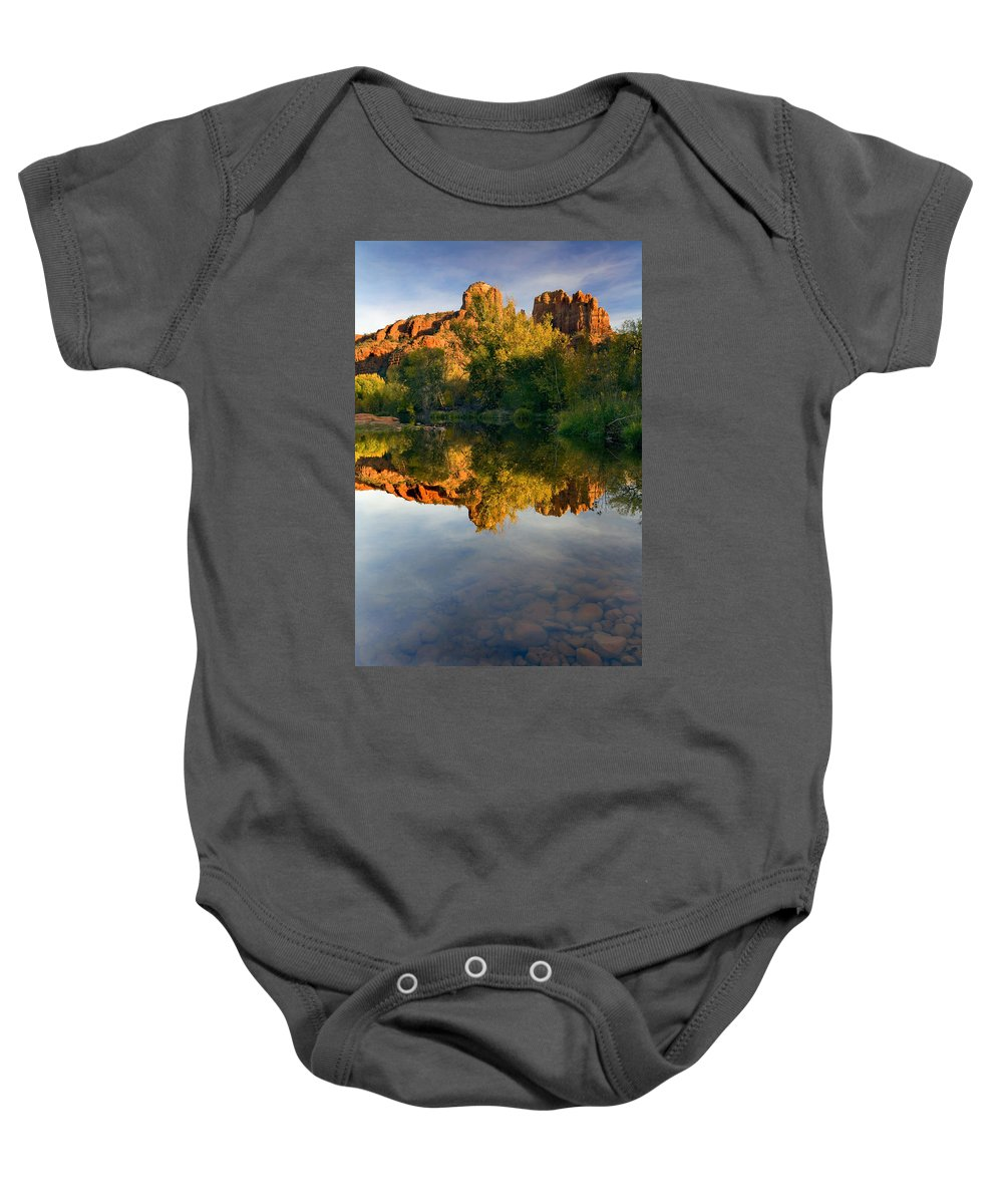 Reflection Baby Onesie featuring the photograph Sedona Sunset by Mike Dawson