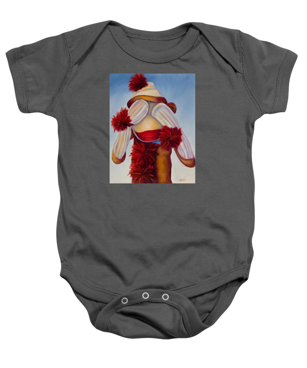 Children Baby Onesie featuring the painting See No Bad Stuff by Shannon Grissom