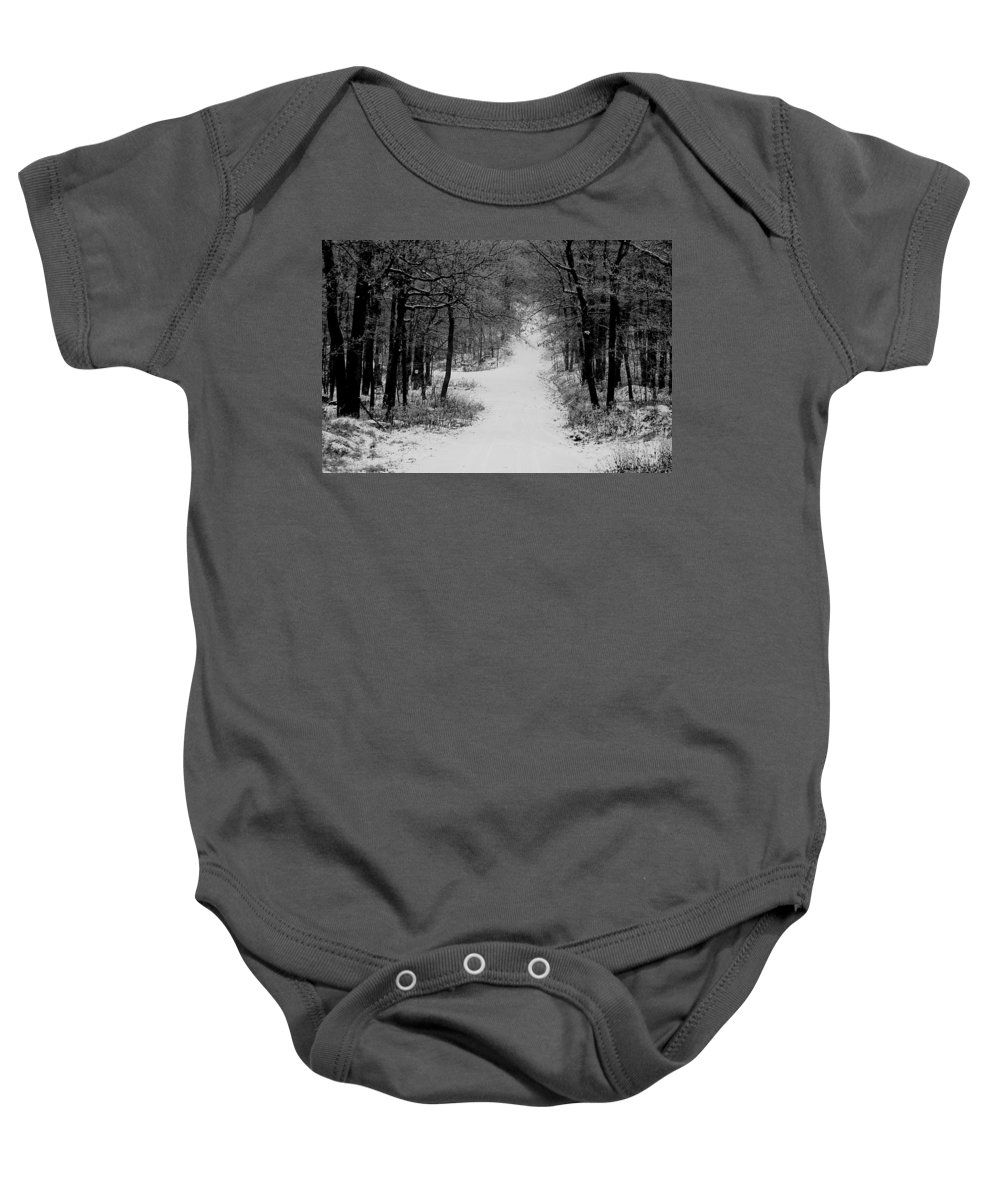 Snow Baby Onesie featuring the photograph See Where It Leads. by Jean Macaluso