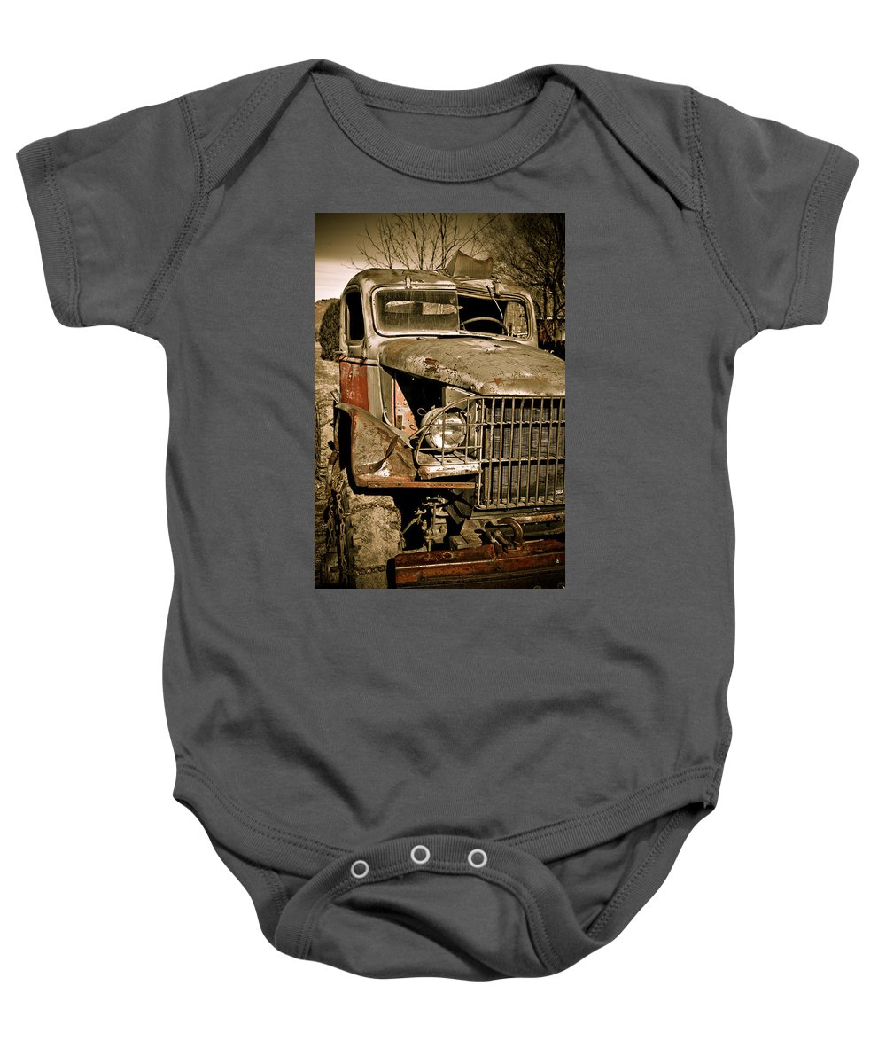 Old Vintage Antique Truck Worn Western Baby Onesie featuring the photograph Seen Better Days by Marilyn Hunt