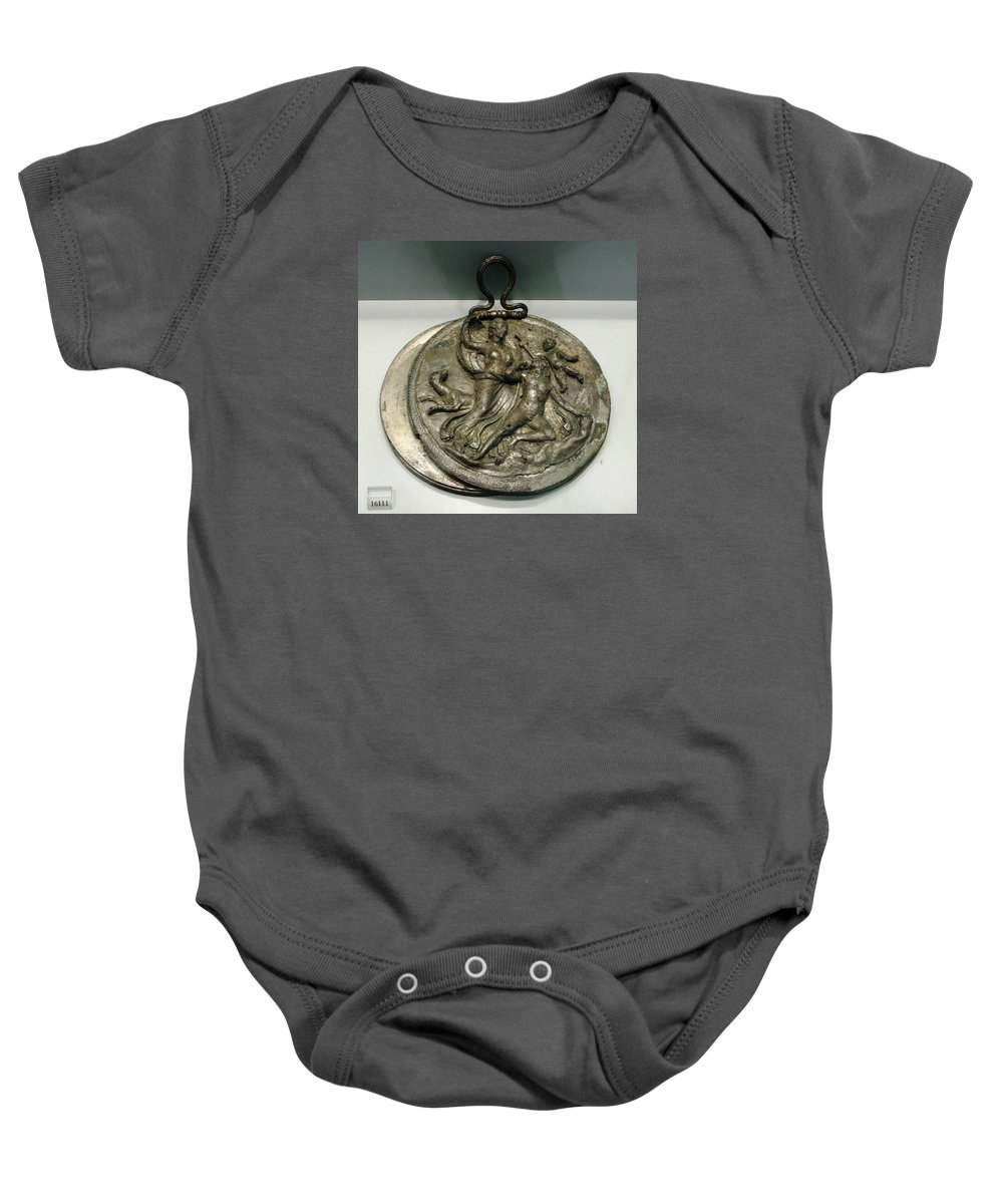 Ancient Silver Mirror Baby Onesie featuring the photograph Selene With Endymion by Andonis Katanos