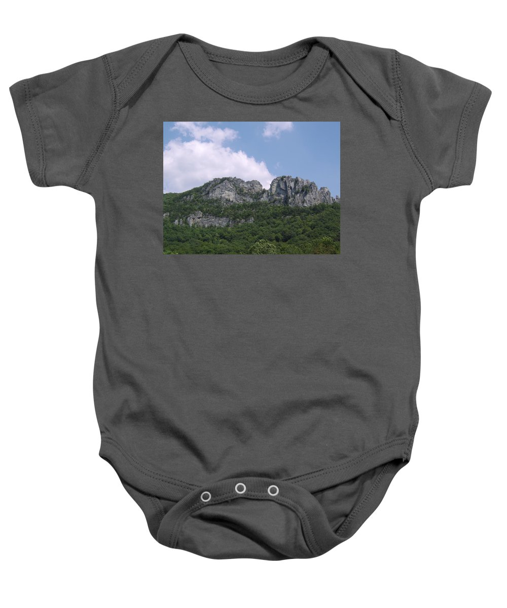 Seneca Rocks West Virginia Images Photographs Prints Appalachian Blue Ridge Mountain Landscape Images Nature Baby Onesie featuring the photograph Seneca Rocks by Joshua Bales
