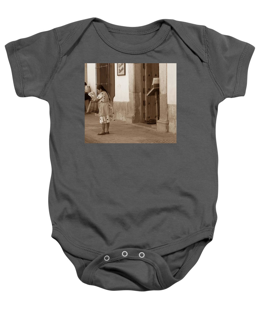 Charity Baby Onesie featuring the photograph Senora by Mary-Lee Sanders