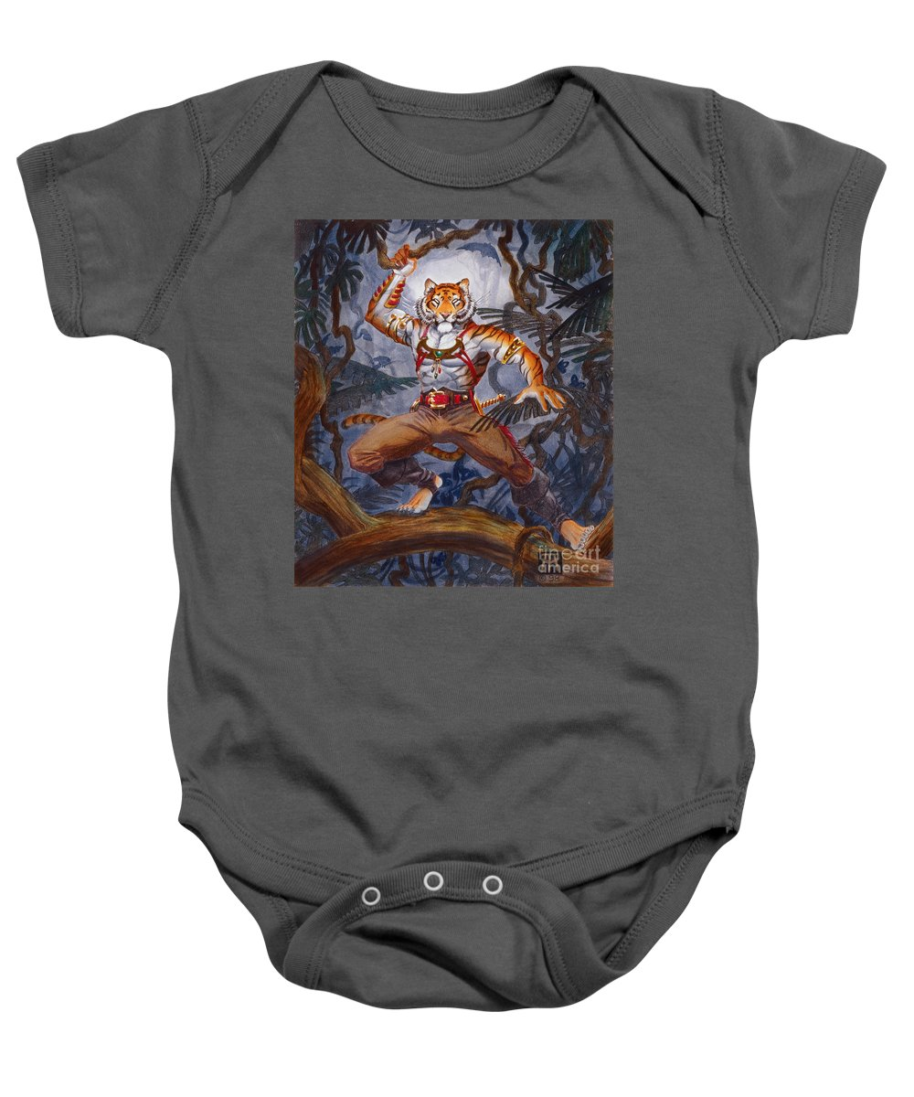 Cat Baby Onesie featuring the painting Sense Dark by Melissa A Benson
