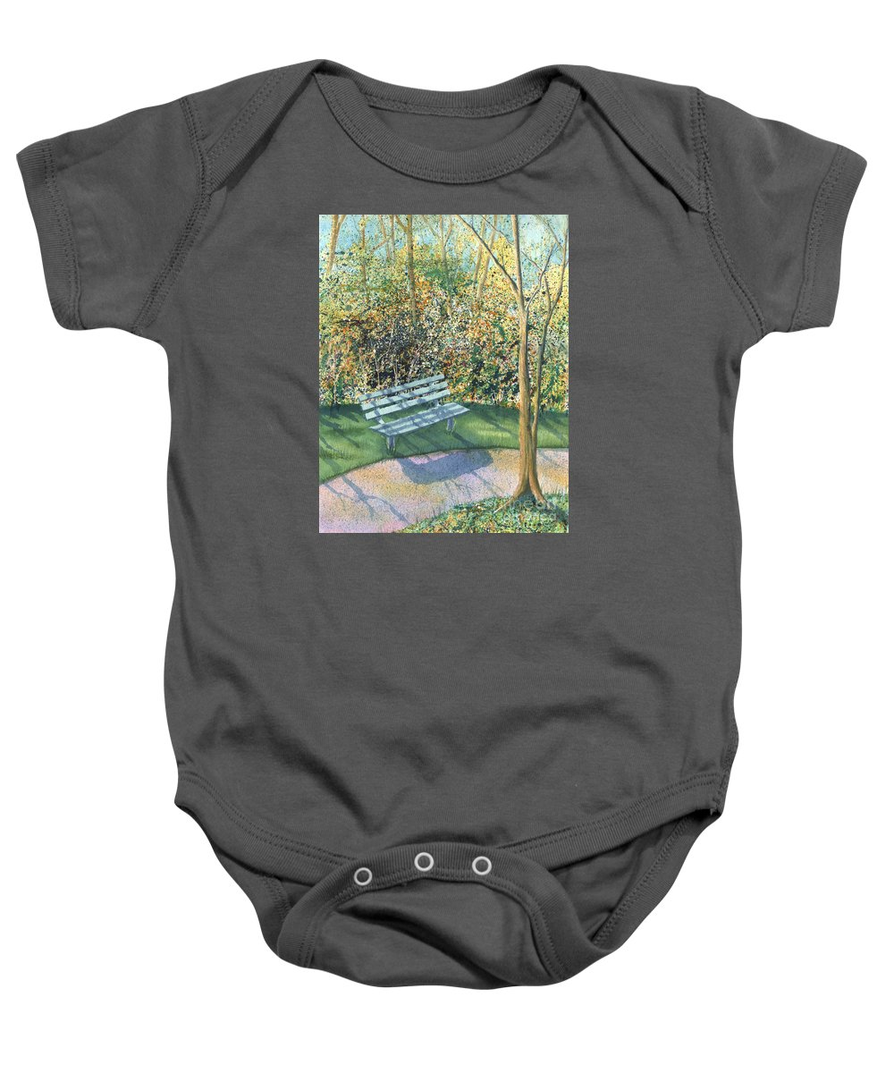 Autumn Trees Baby Onesie featuring the painting September Afternoon by Lynn Quinn