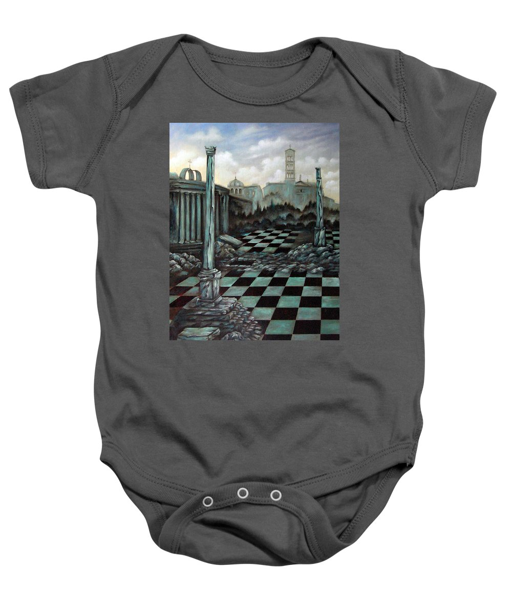 Surreal Baby Onesie featuring the painting Sepulchre by Valerie Vescovi