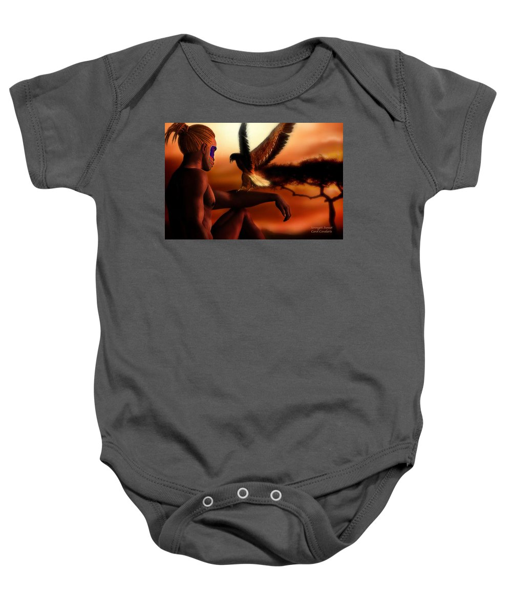 Africa Baby Onesie featuring the mixed media Serengeti Sunset by Carol Cavalaris