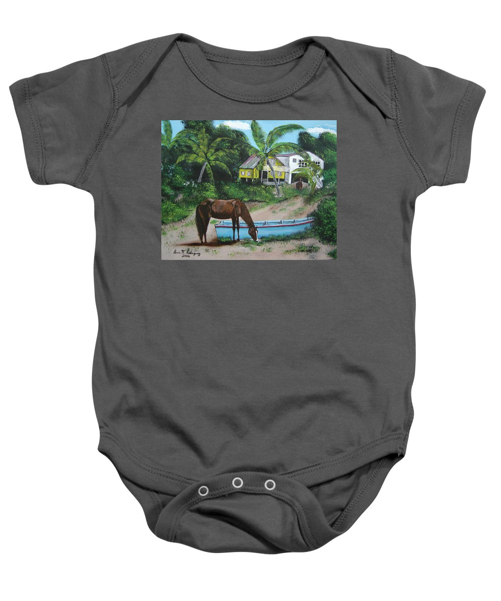 Aguadilla Baby Onesie featuring the painting Serenity by Luis F Rodriguez