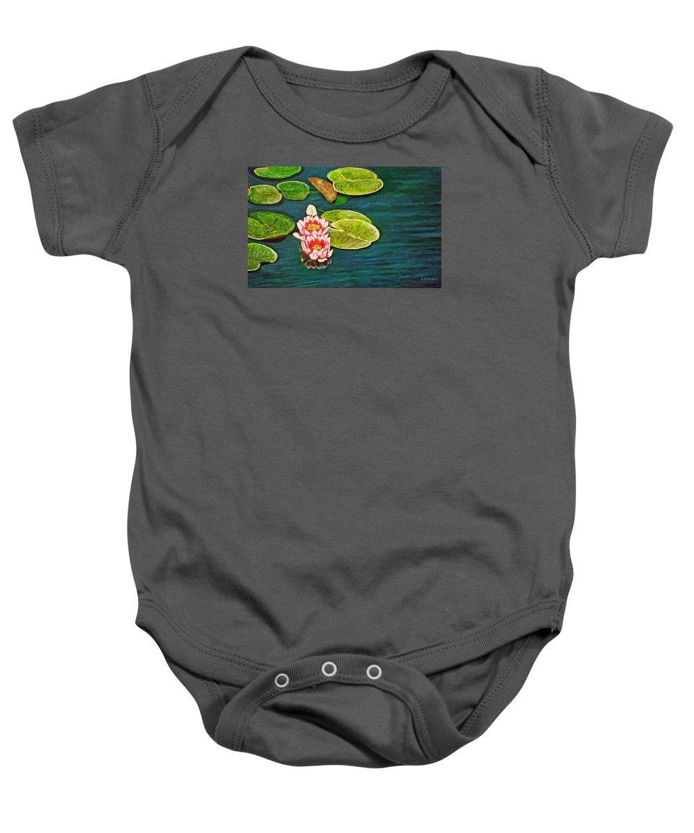 Water Lily Baby Onesie featuring the painting Serenity by Michael Durst
