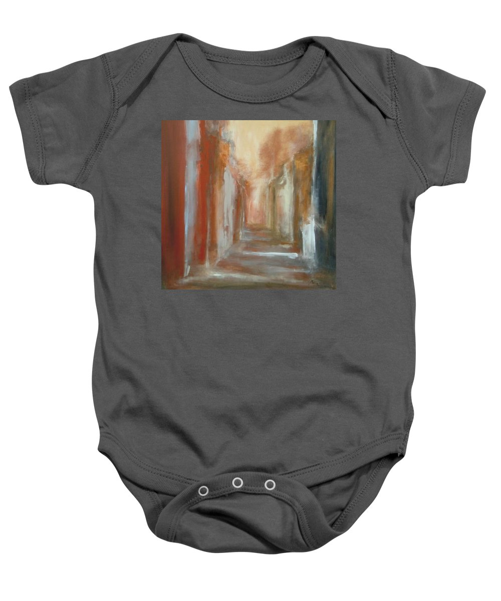 Abstract Baby Onesie featuring the painting Serenity by Rome Matikonyte