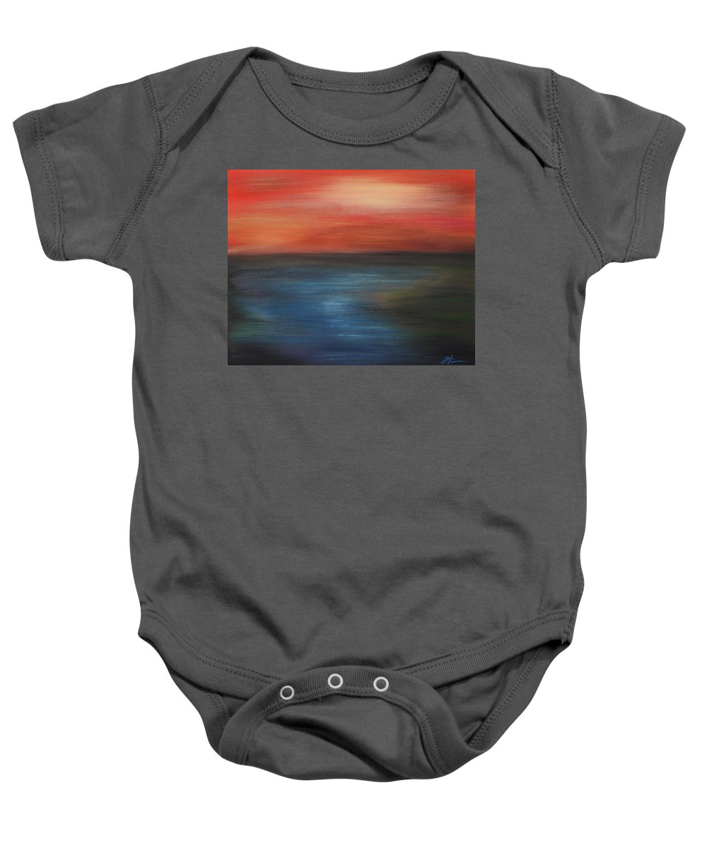 Scenic Baby Onesie featuring the painting Serenity by Todd Hoover