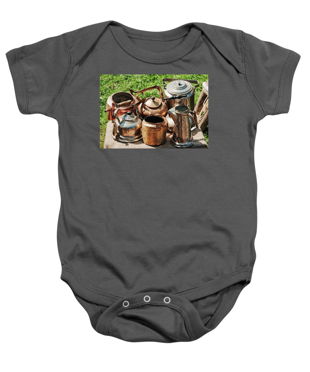 Ancient Baby Onesie featuring the photograph Set Of Ancient Teapots by Vadzim Kandratsenkau