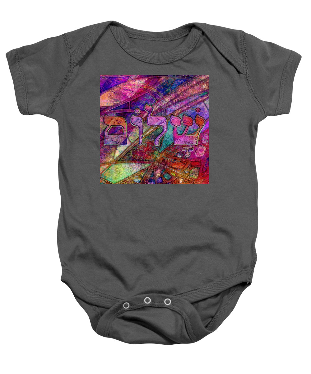 Shalom Baby Onesie featuring the digital art Shalom by Barbara Berney