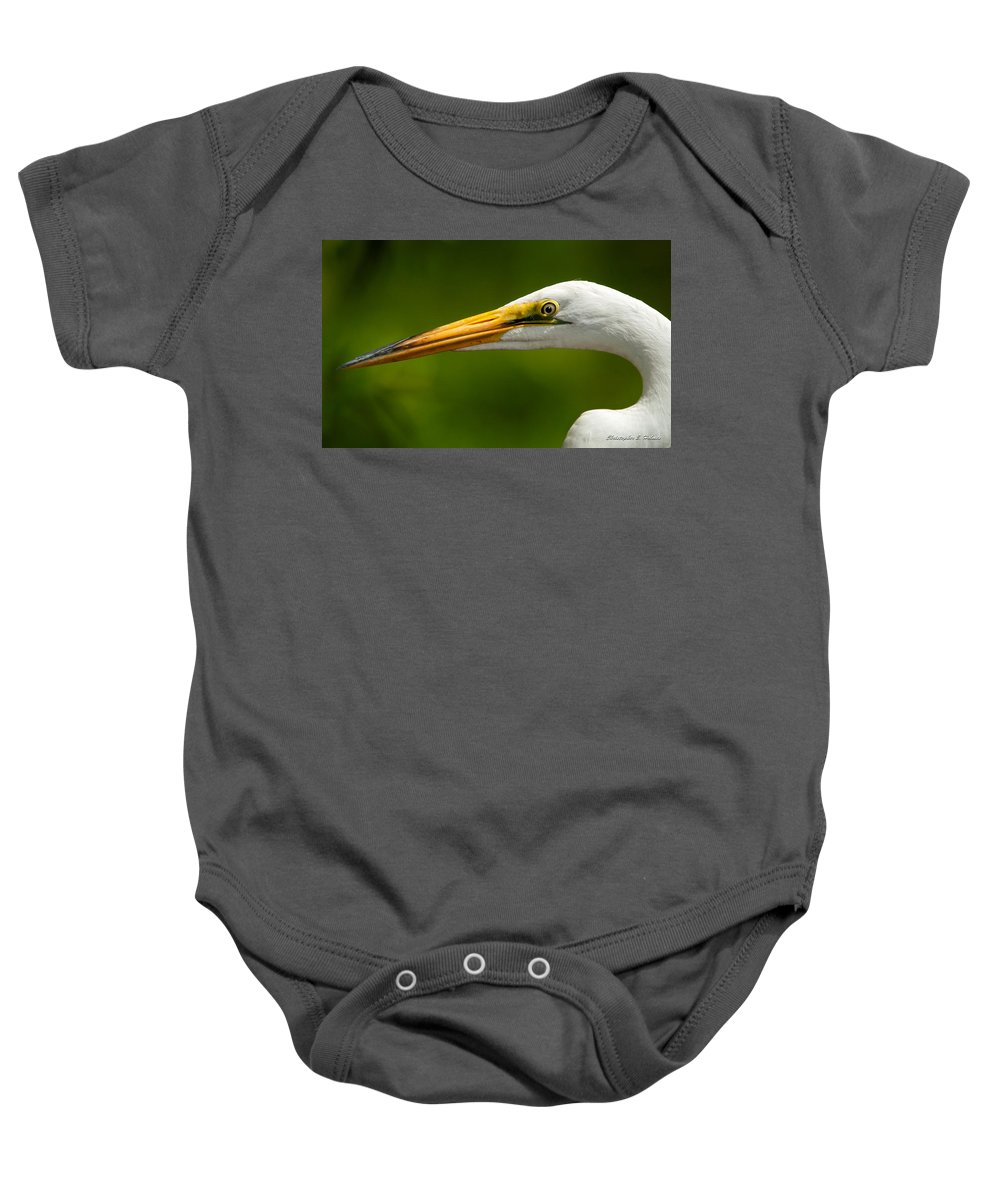 Egret Baby Onesie featuring the photograph Sharp Curve by Christopher Holmes