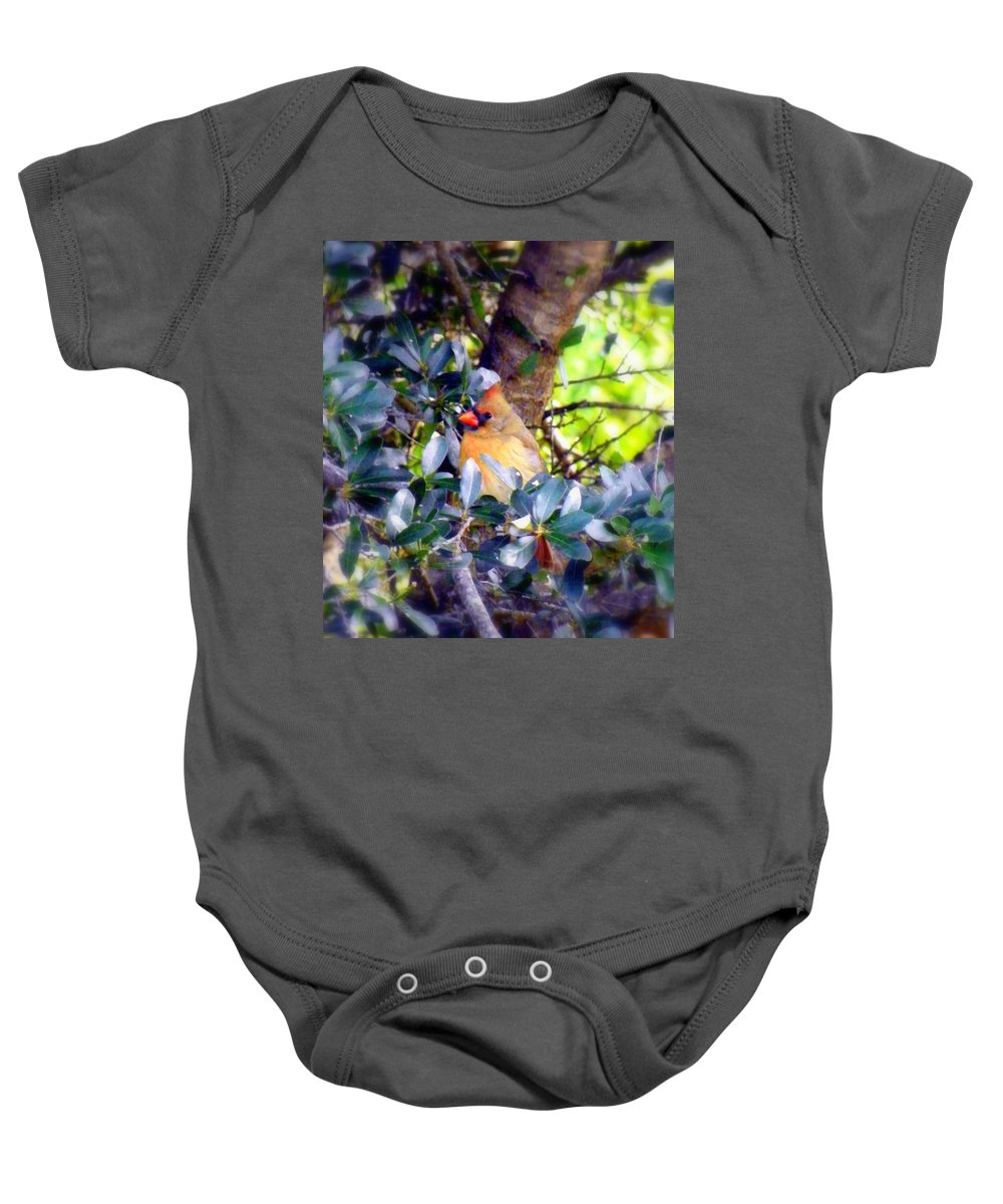 Cardinal Baby Onesie featuring the photograph She Waits by Karen Wiles
