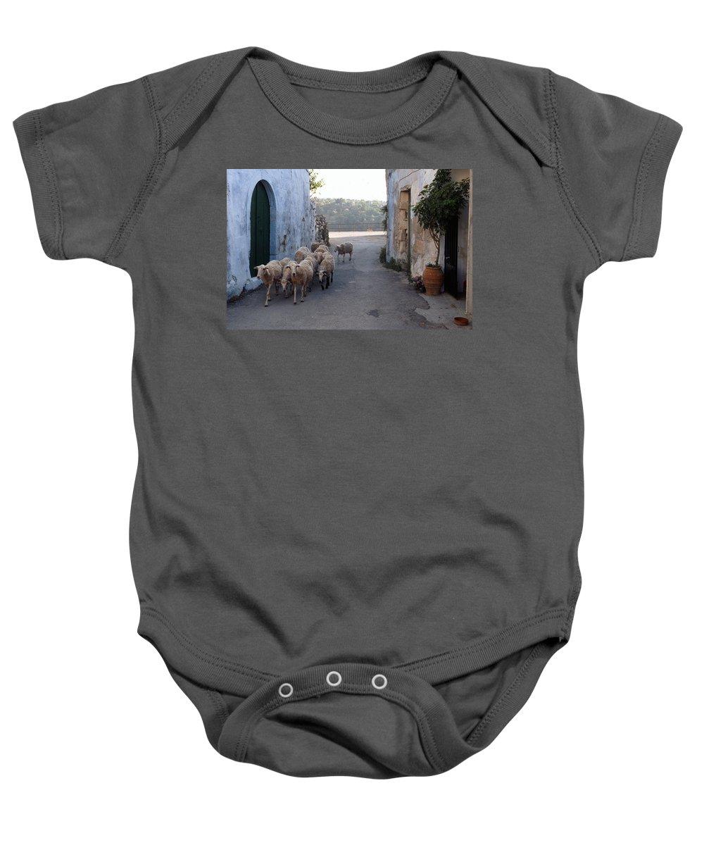 Lehtokukka Baby Onesie featuring the photograph Sheeps Of Crete by Jouko Lehto
