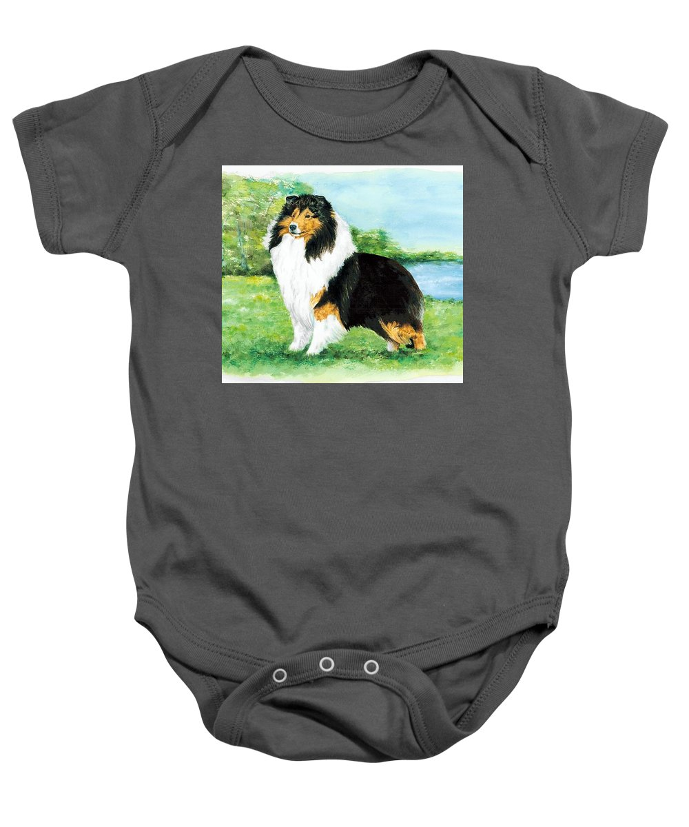 Shetland Sheepdog Baby Onesie featuring the painting Sheltie Wait by Kathleen Sepulveda