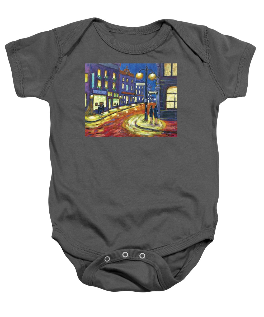 Night Baby Onesie featuring the painting Shimmering Night by Richard T Pranke