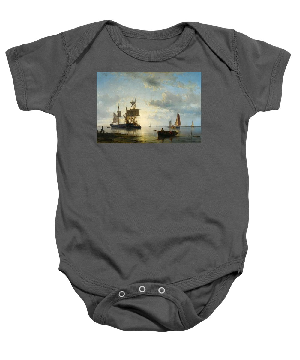 Abraham Hulk Baby Onesie featuring the painting Ships At Dusk by Abraham Hulk