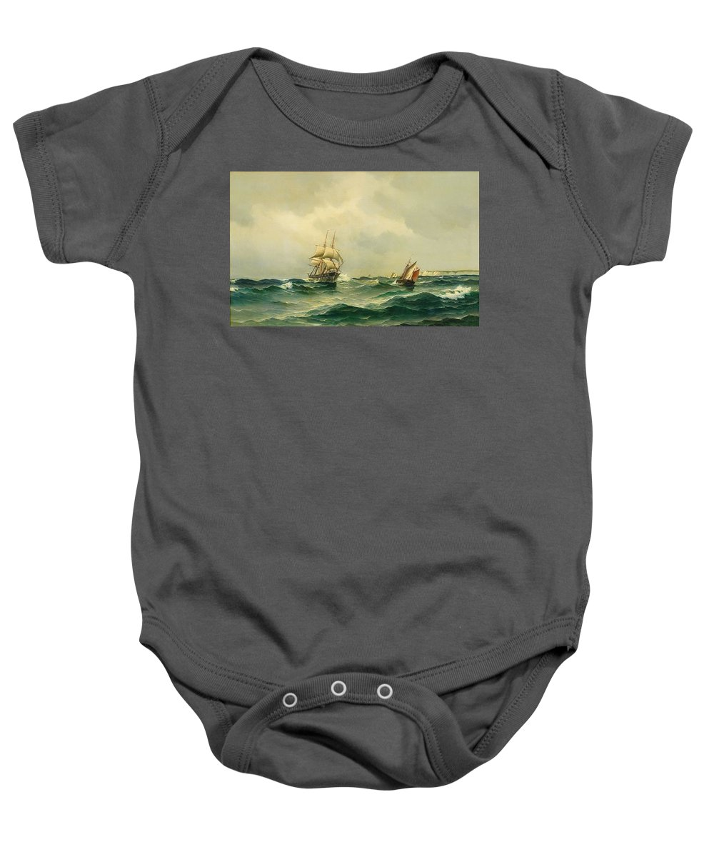 Vilhelm Bille Denmark 1864-1908 Ships At Sea Baby Onesie featuring the painting Ships At Sea by MotionAge Designs