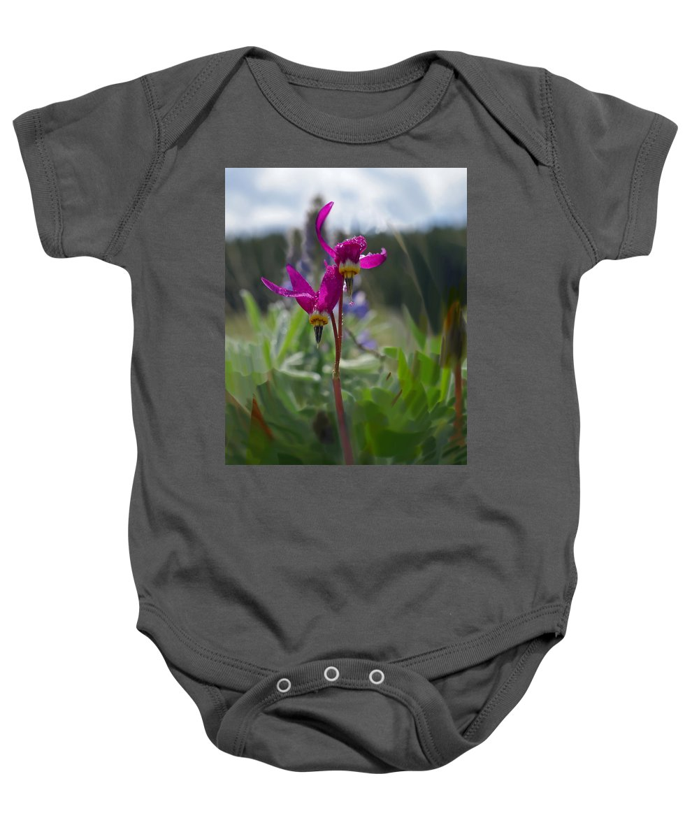 Wild Flower Baby Onesie featuring the photograph Shooting Star by Heather Coen