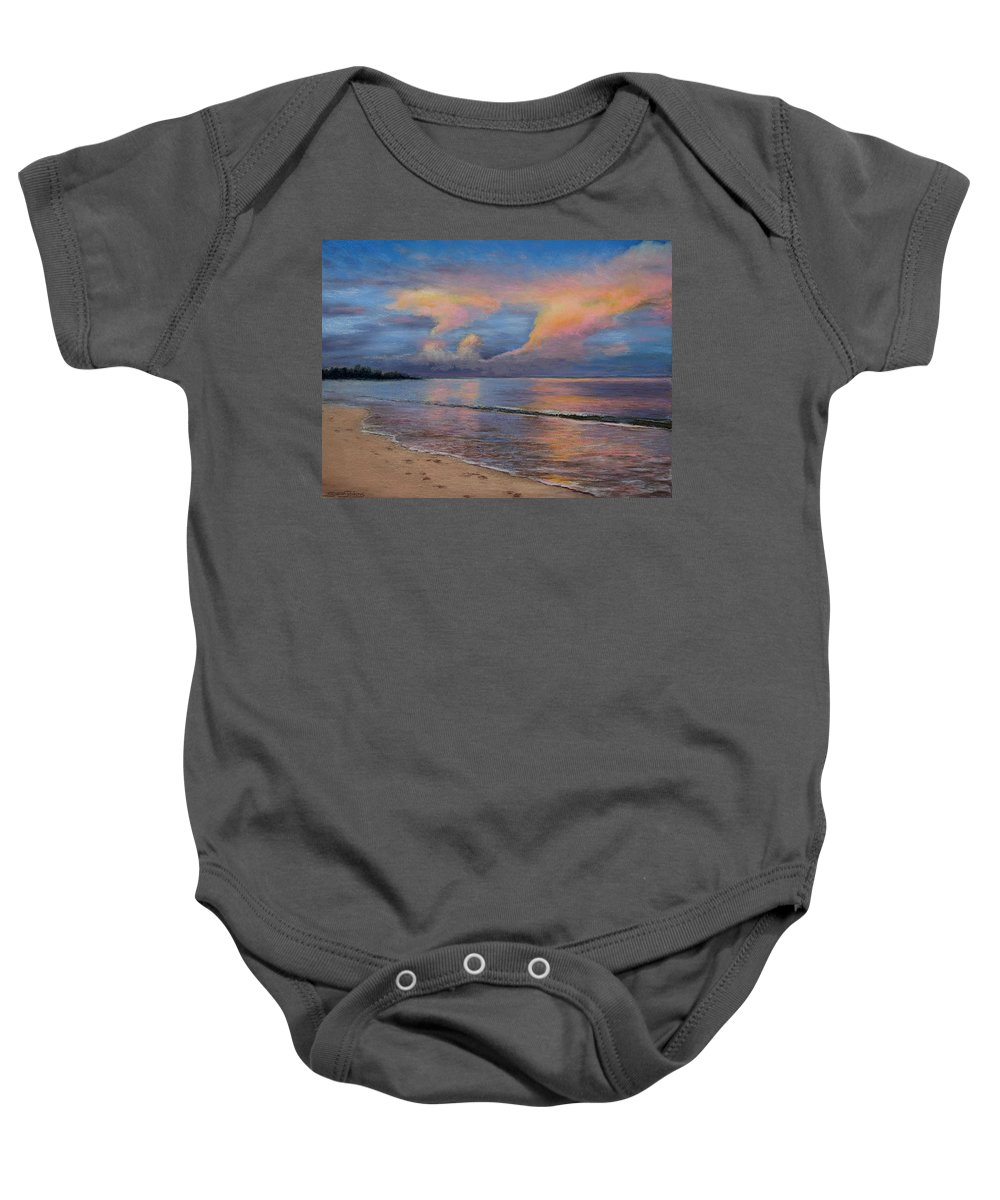 Landscape Baby Onesie featuring the pastel Shore Of Solitude by Susan Jenkins