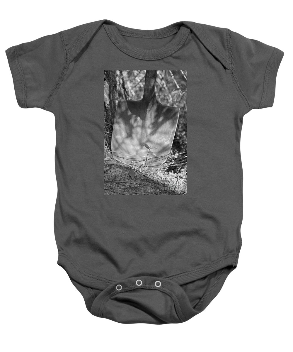 Black And White Baby Onesie featuring the photograph Shovel by Michelle Powell