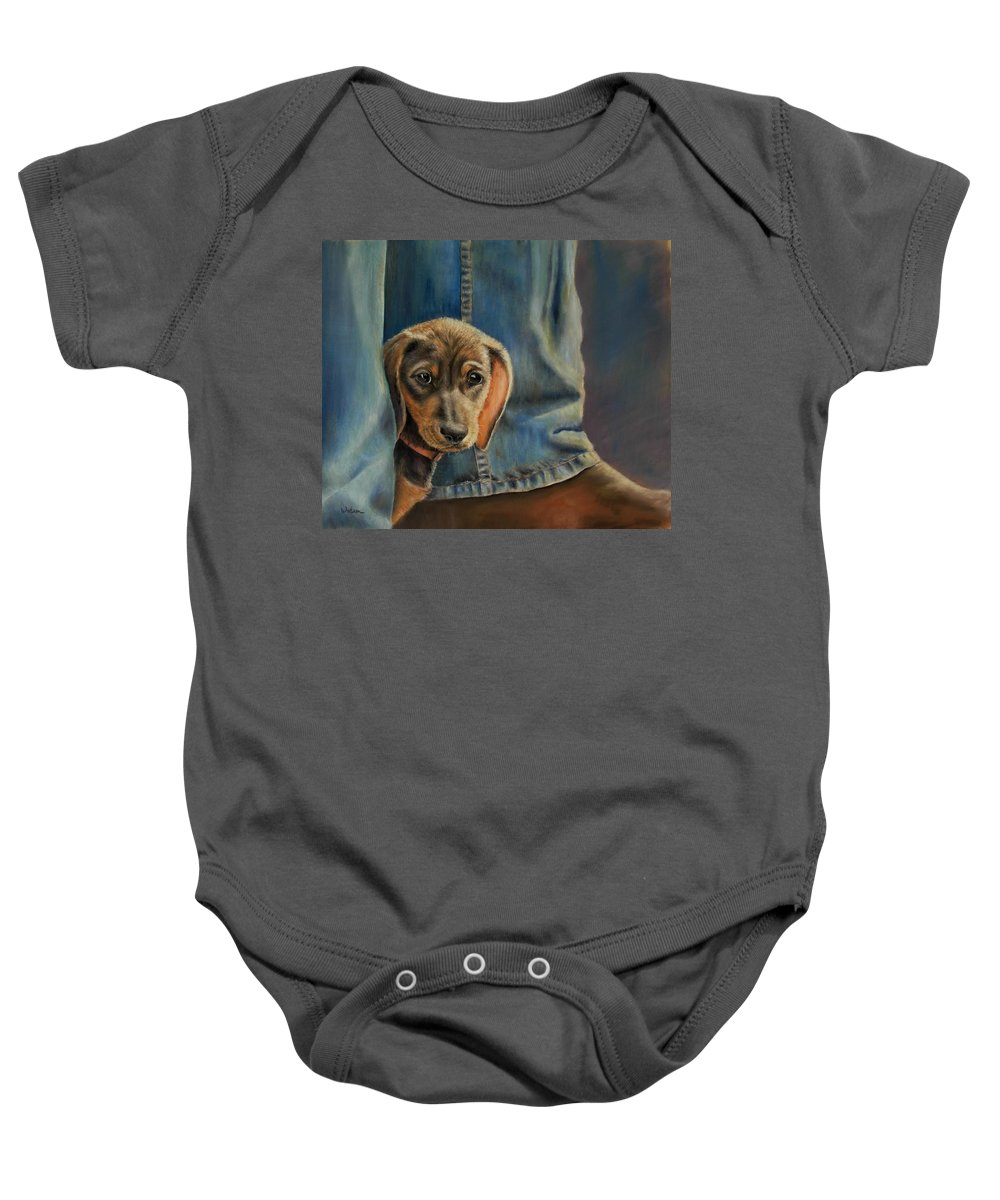 Animal Baby Onesie featuring the painting Shy Boy by Ceci Watson
