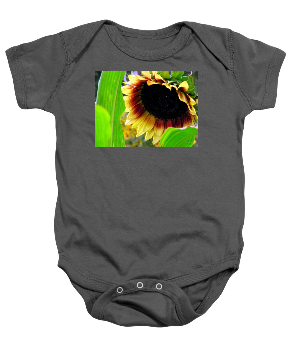Sun Flower Baby Onesie featuring the photograph Shy by Deborah Crew-Johnson