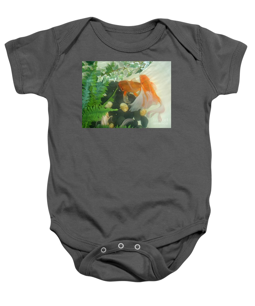 Orange Baby Onesie featuring the photograph Siamese Fighting Fish 2 by Mary Deal