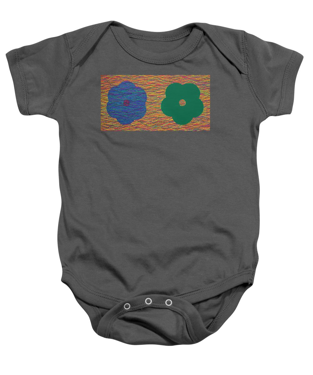 Sibling Baby Onesie featuring the painting Siblings 2 by Kyung Hee Hogg